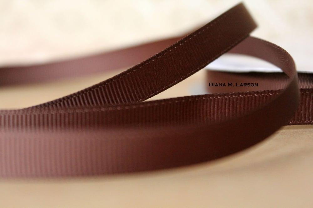 Image of Brown grosgrain ribbon