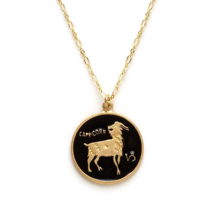 Image of Amano Capricorn Enamel Medallion Necklace