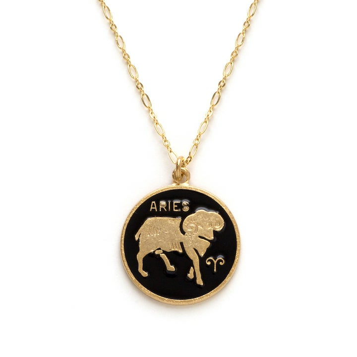Image of Amano Aries Enamel Medallion Necklace