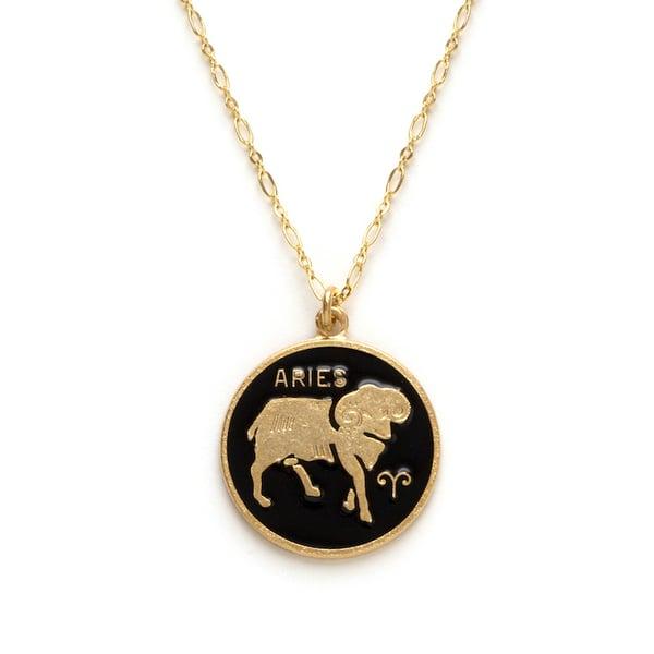 Image of Amano Aries Enamel Medallion Necklace
