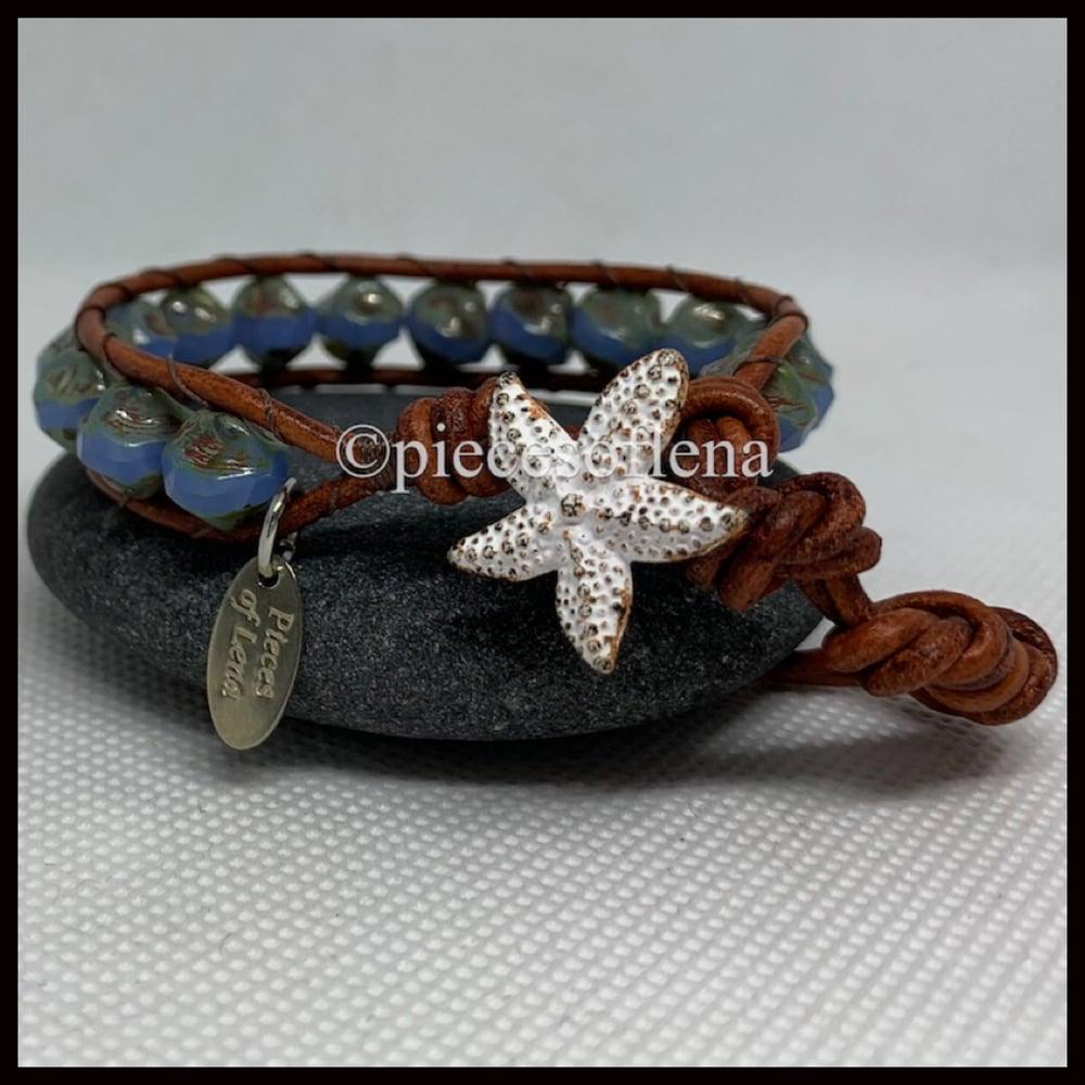 Image of SINGLE WRAP BRACELET - White Starfish Ocean