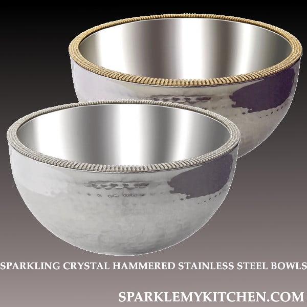 Image of Sparkling Crystal Hammered Bowls