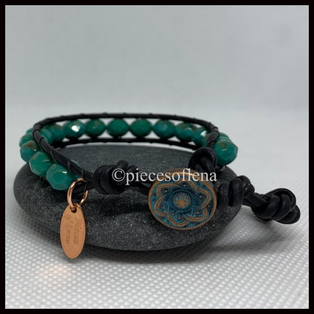 Image of SINGLE WRAP BRACELET - Green Rustic Blue
