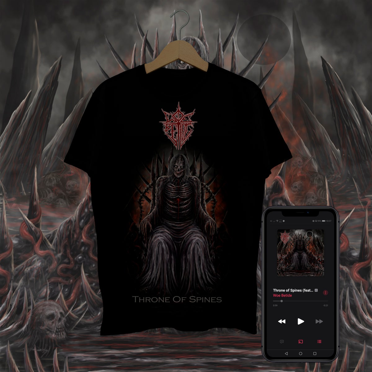 Throne Of Spines T-Shirt with Digital Download Bundle - Pre-order
