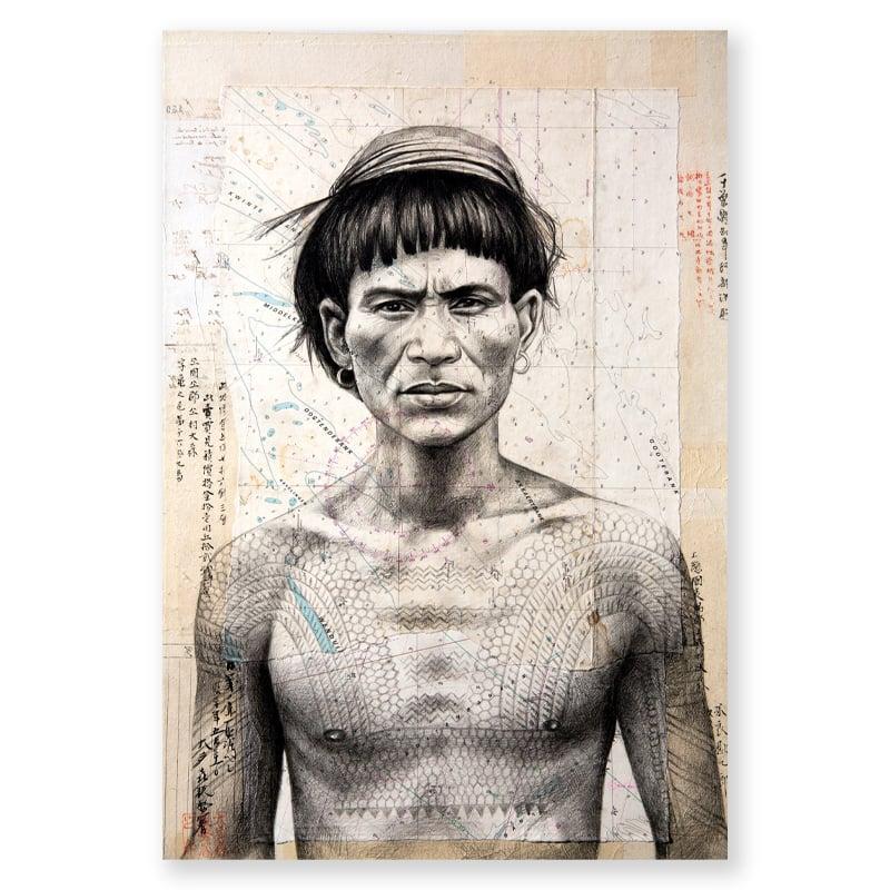 "Image of Paper Art Print - ""Guerrier Kalinga"""