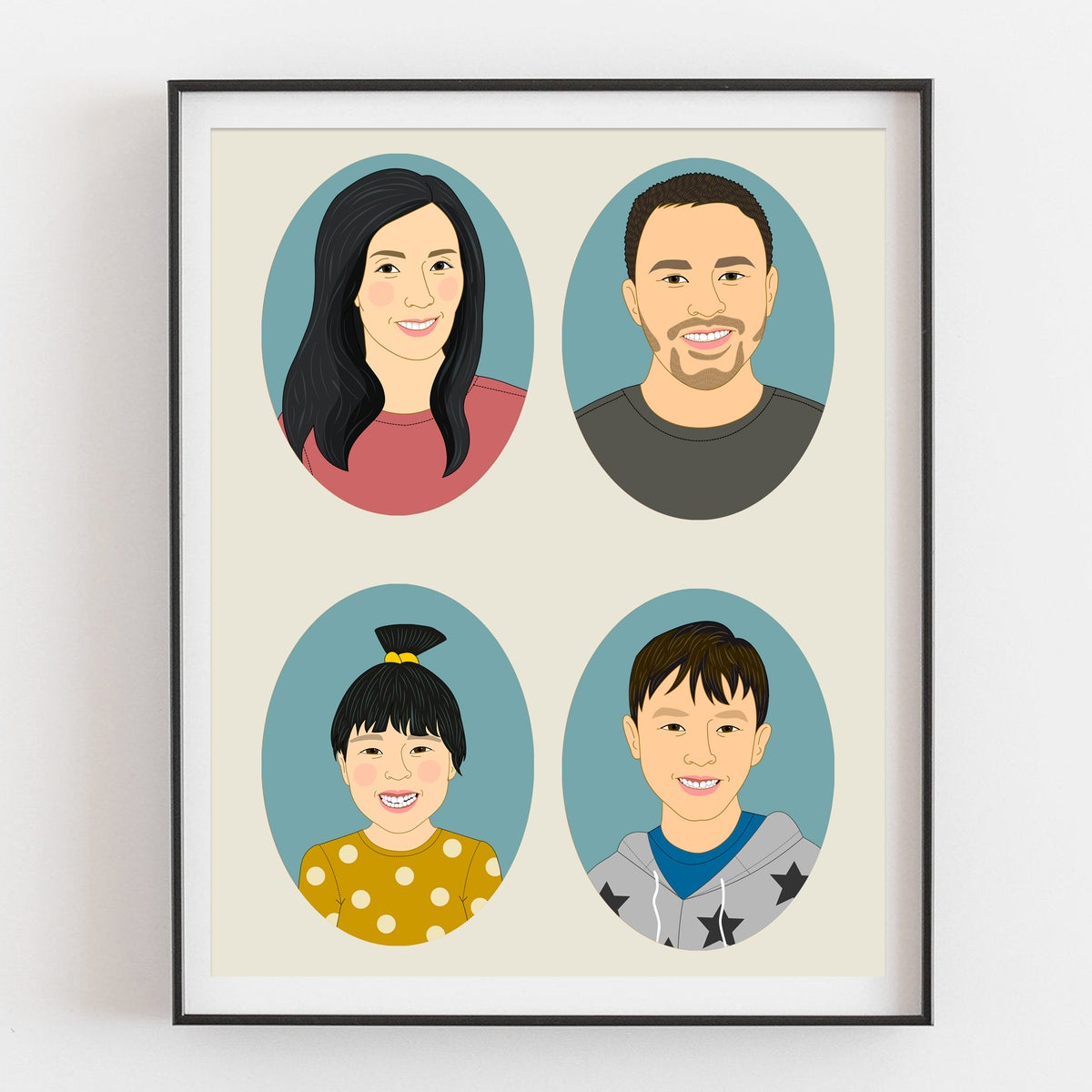Image of Family portrait of 4 people.