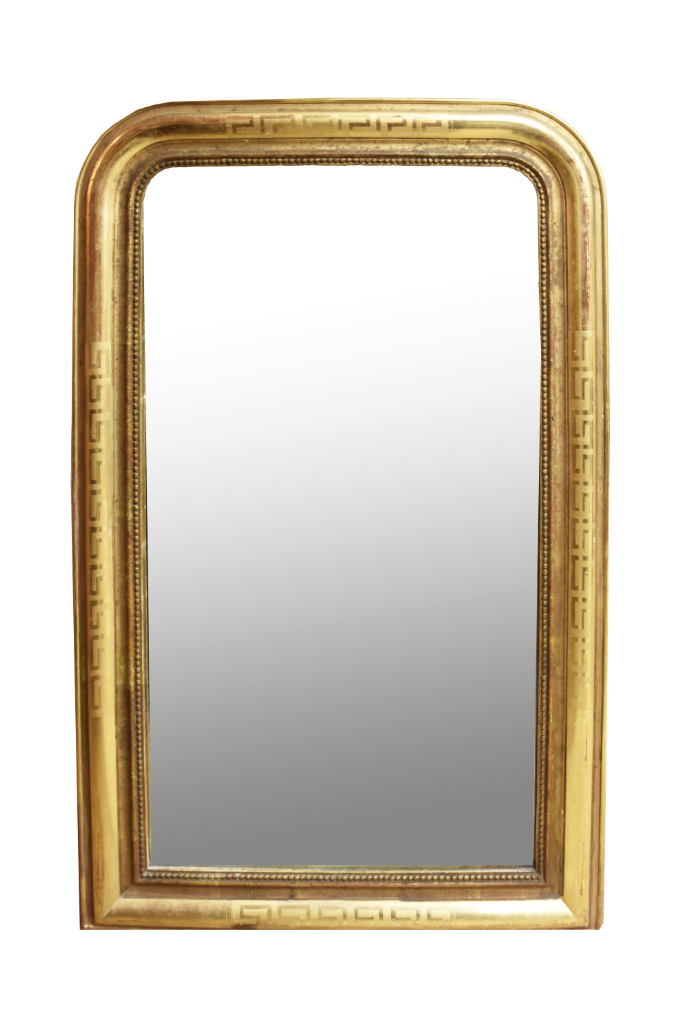 Image of Early 19th Century Louis Philippe Giltwood Mirror With Greek Key Design
