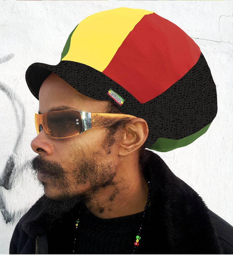 Image of Jah Roots Stretch Hats With Beak (Ital-Black Snake Skin, Yellow, Red, & Green)