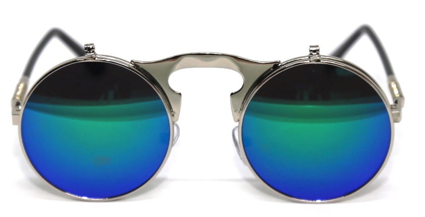 Image of Fallout Round Flip Sunnies Light Blue Reflect