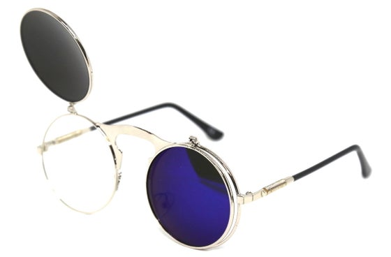Image of Fallout Round Flip Sunnies Deep Blue Reflect