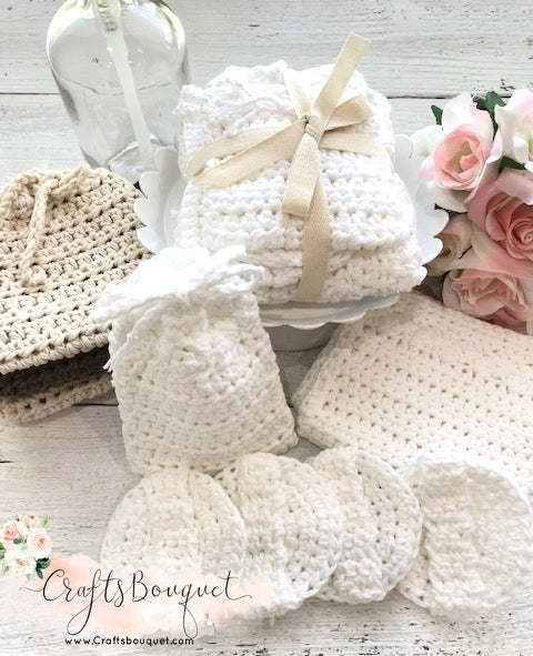 Image of Crochet Organic White Cotton Spa Set