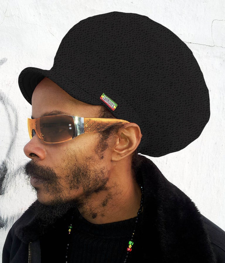 Image of Jah Roots Stretch Hats With Beak (Black Snake Skin)