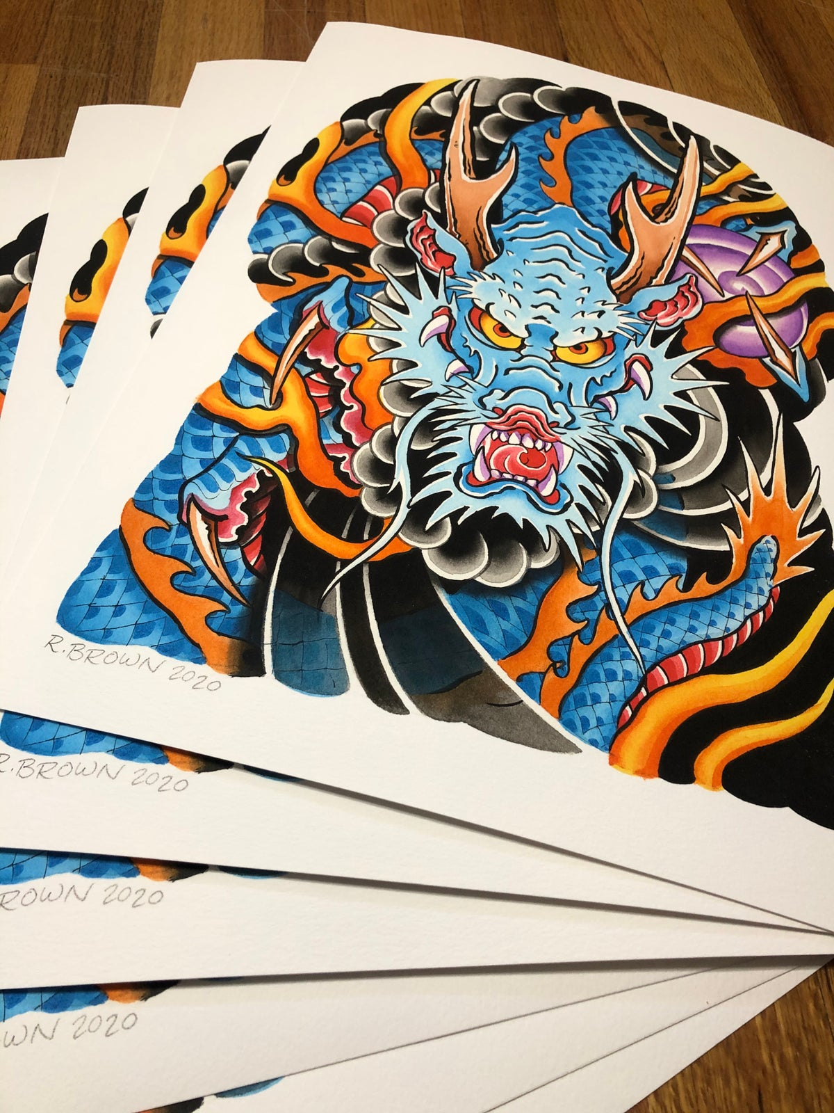 12x16 Dragon Half Sleeve Print