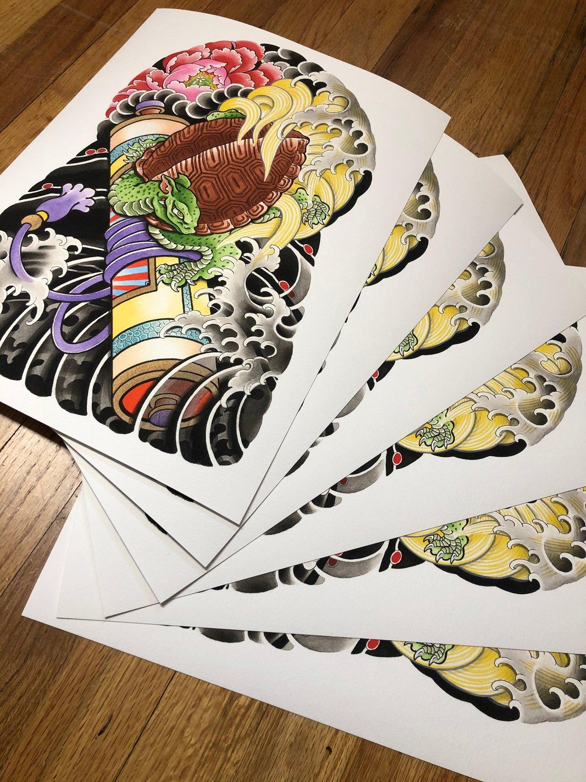 12x16 Turtle Half Sleeve Print