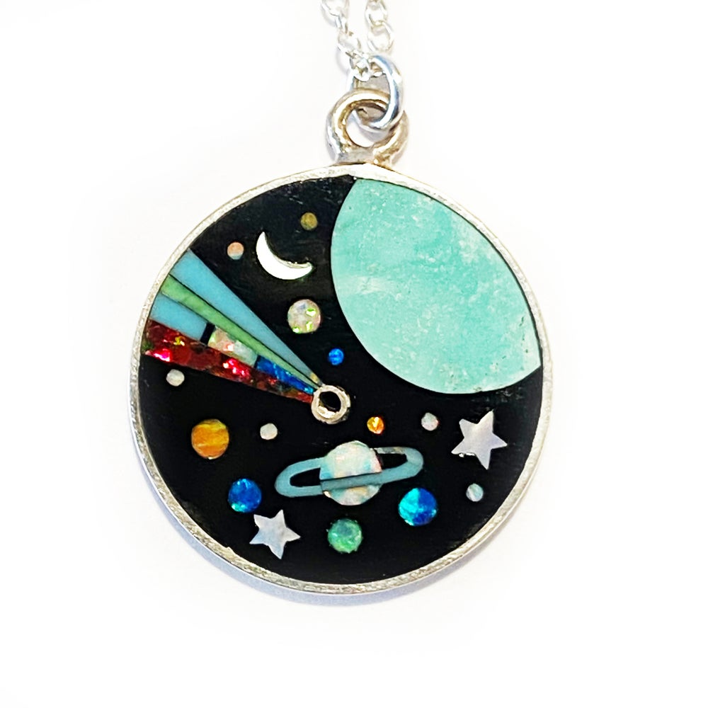 Image of Large Galaxy Inlay Necklace Blue Earth