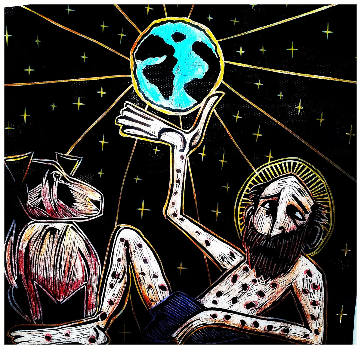 HAND COLORED ST. LAZARUS SAVES THE WORLD