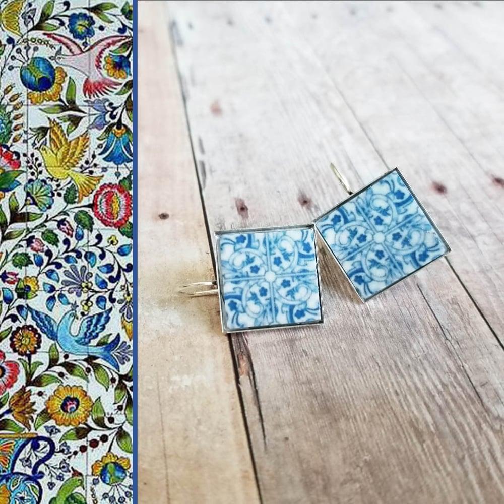 Image of Mediterranean Tile Earrings - Light Blue
