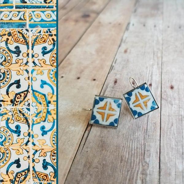 Image of Mediterranean Tile Earrings - Sea Blue + Gold