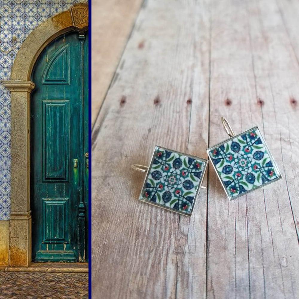 Image of Mediterranean Tiles - Sea Green + Navy