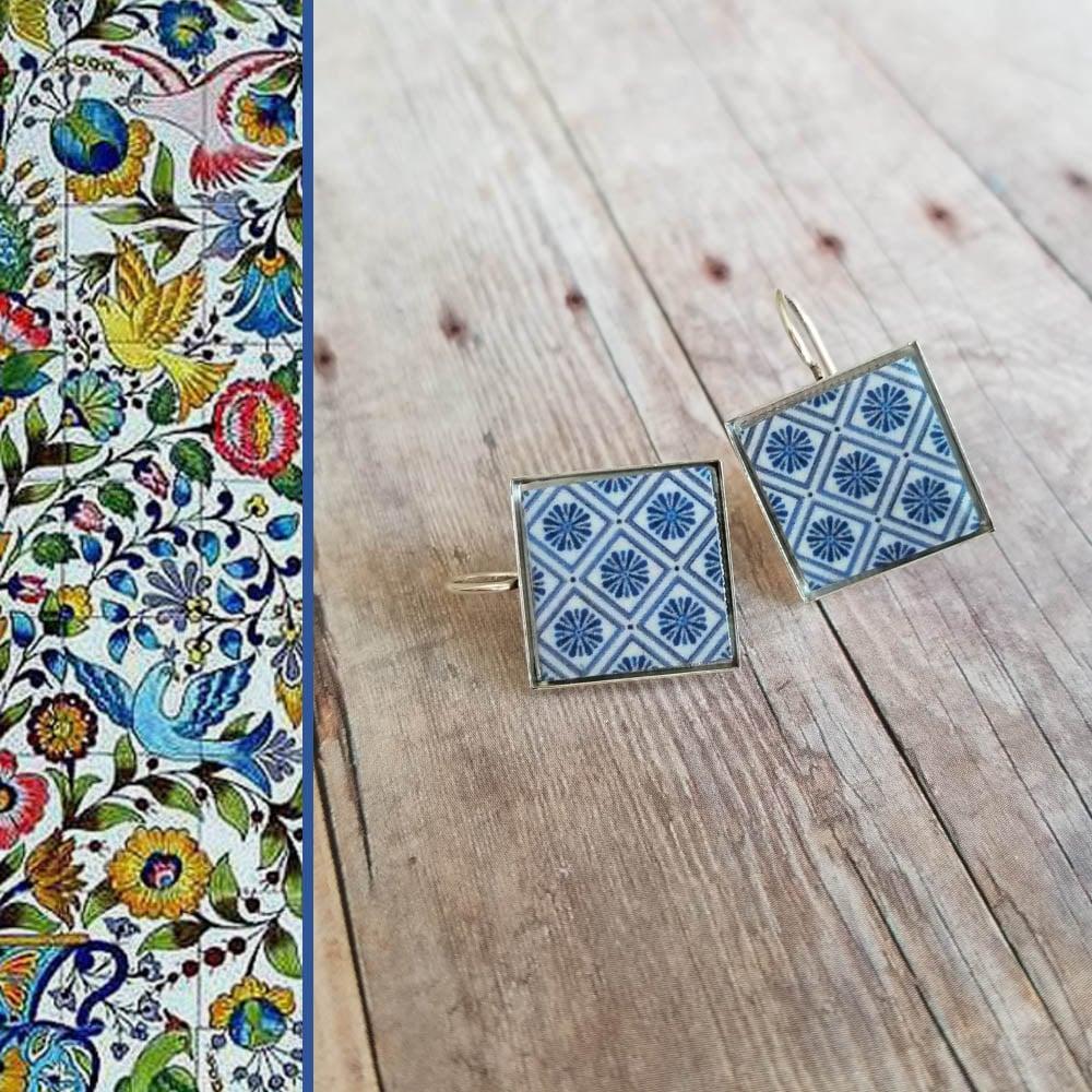 Image of Mediterranean Tile Earrings - Medium Blue + White