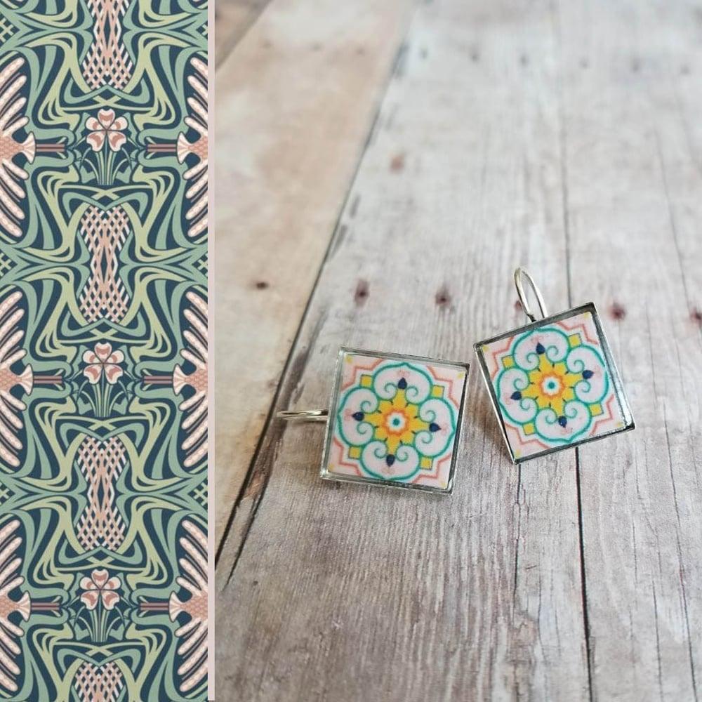Image of Mediterranean Tile Earrings - Pink + Green