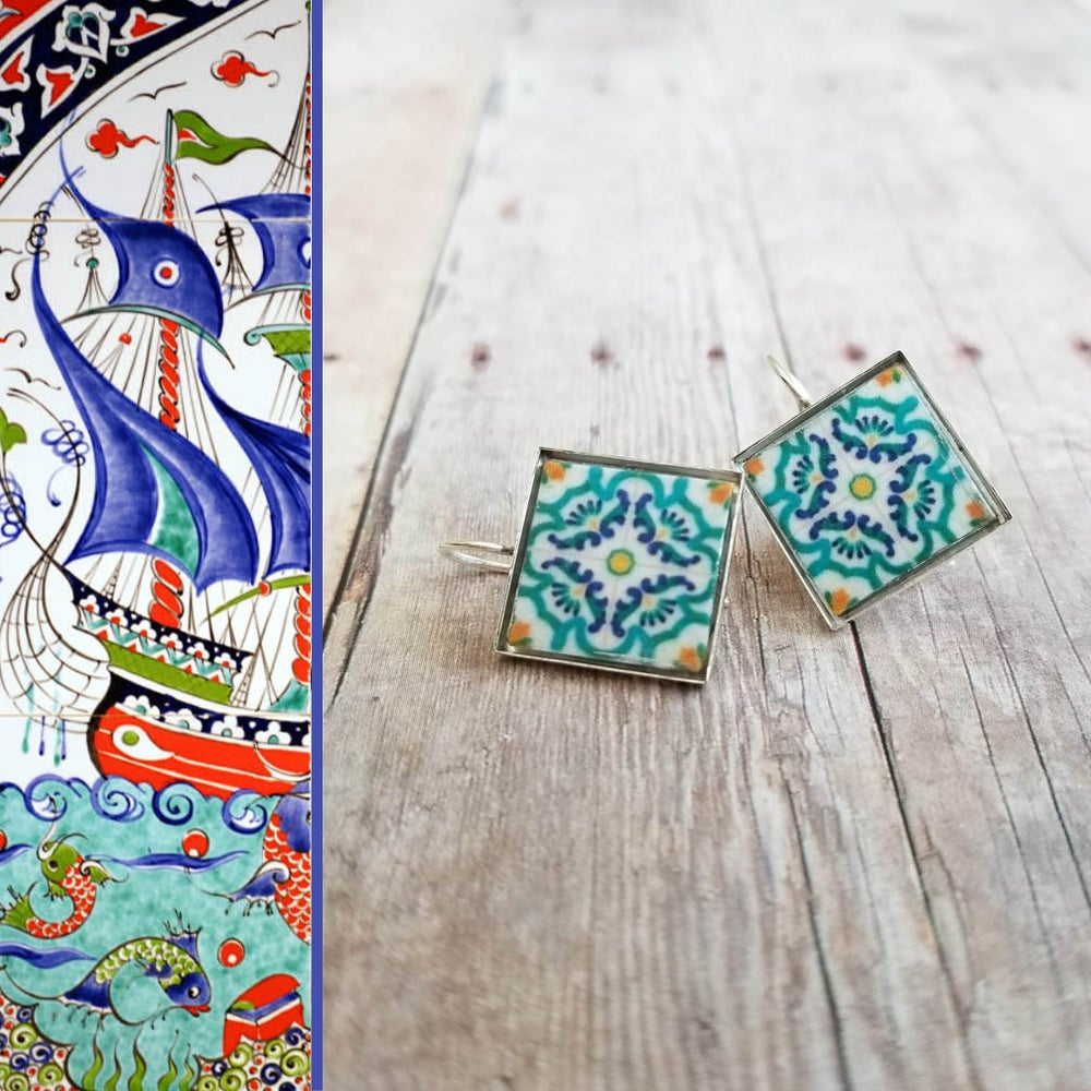 Image of Mediterranean Tile Earrings - Turquoise, Navy + Gold
