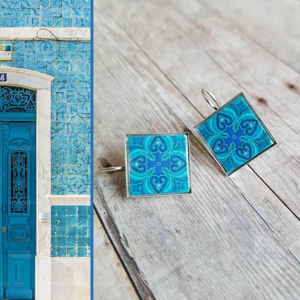 Image of Mediterranean Tile Earrings - Turquoise + Royal Blue