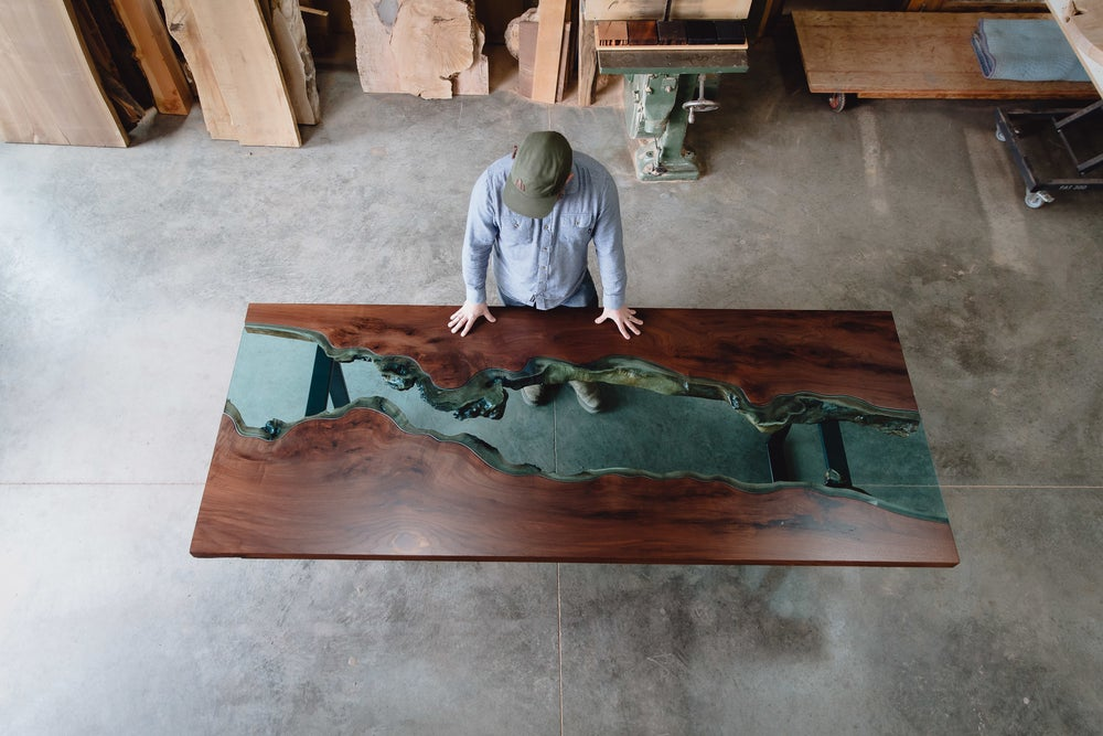 Image of black walnut river table