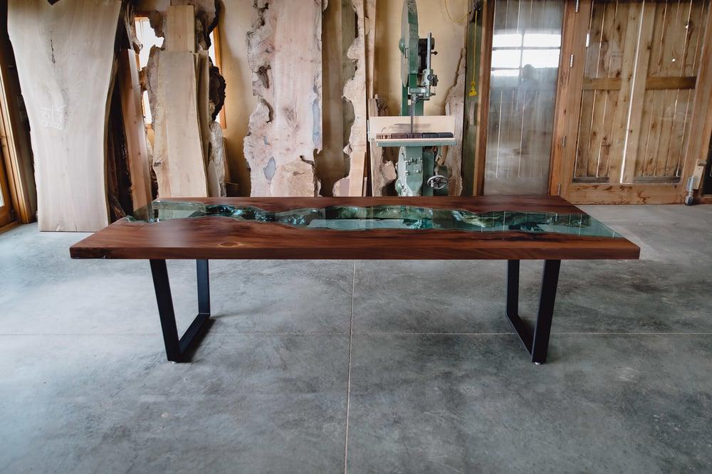 Image of black walnut river table