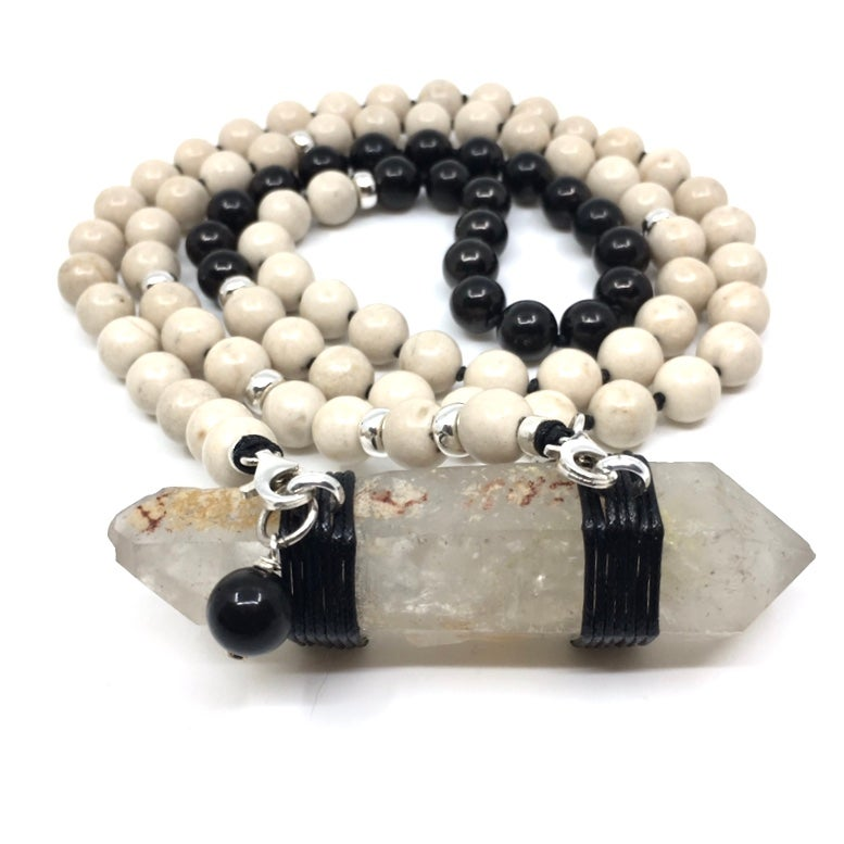 Image of Riverstone Double Infinity Mala 88  Lightening Strike Lemurian Quartz