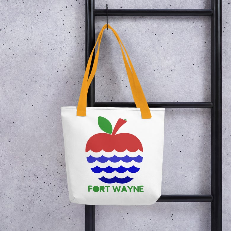 Image of Apples + Rivers = Fort Wayne Tote bag