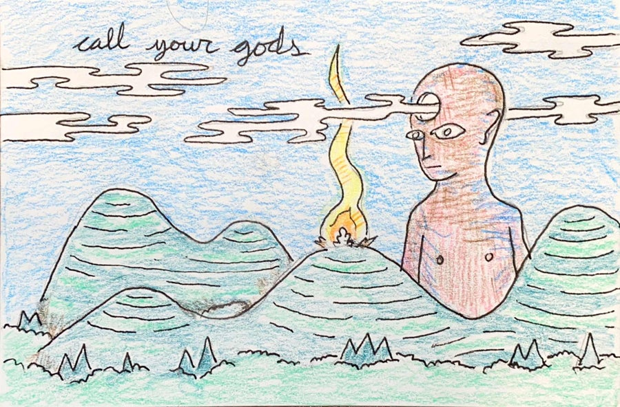 Image of call your gods (mail art)