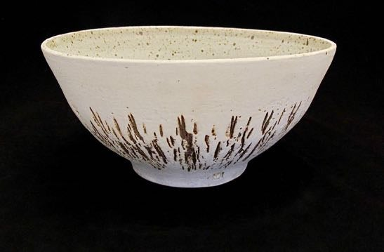 Slip etched  white speckle bowl