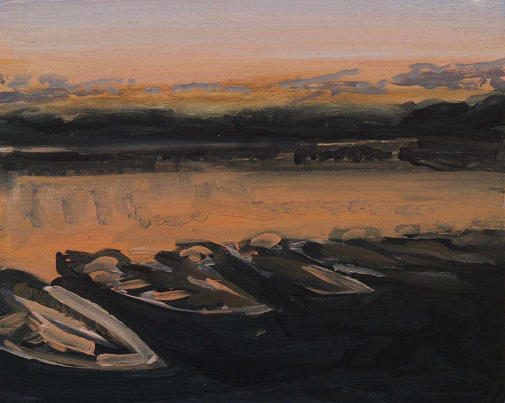 Image of Boats at Sunset (Keswick) Framed Original