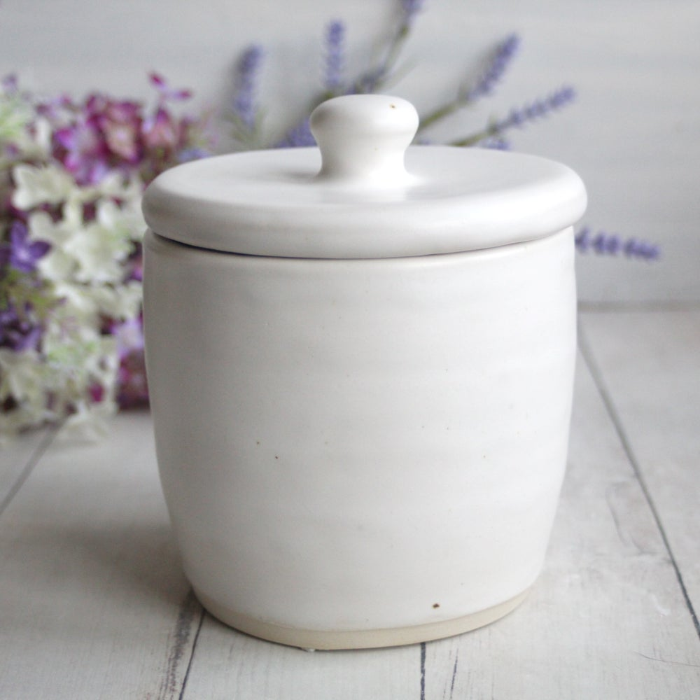 Image of White Matte Covered Jar, Ceramic Crock, Rustic Modern Pottery, Handcrafted, Made in USA