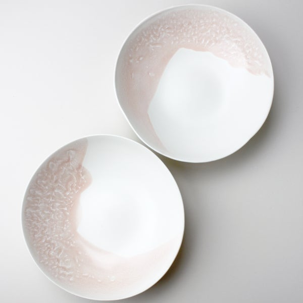 Image of set of two pasta bowls, rose watercolor