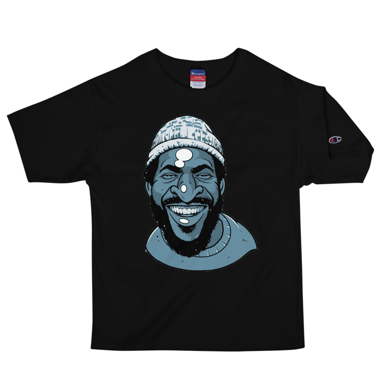 Image of Marvin Blue Steel Black Champion Tee