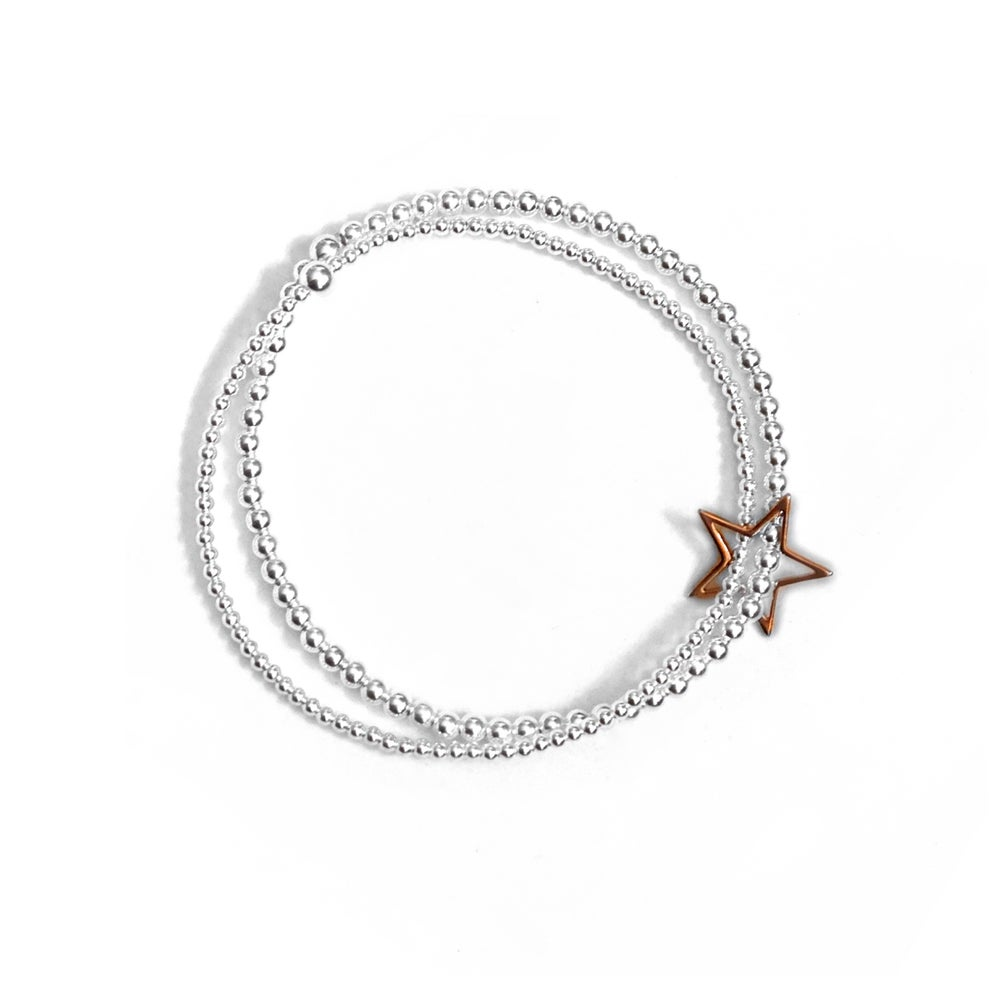 Image of Rose Gold & Sterling Silver Double Star Bracelet
