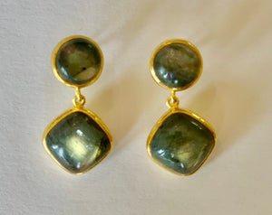 Image of labradorite double drop earrings
