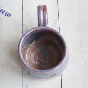 Image of Gorgeous Pottery Mug in Bright Purple and Pink Glazes, 14 oz. Coffee Cup, Made in USA