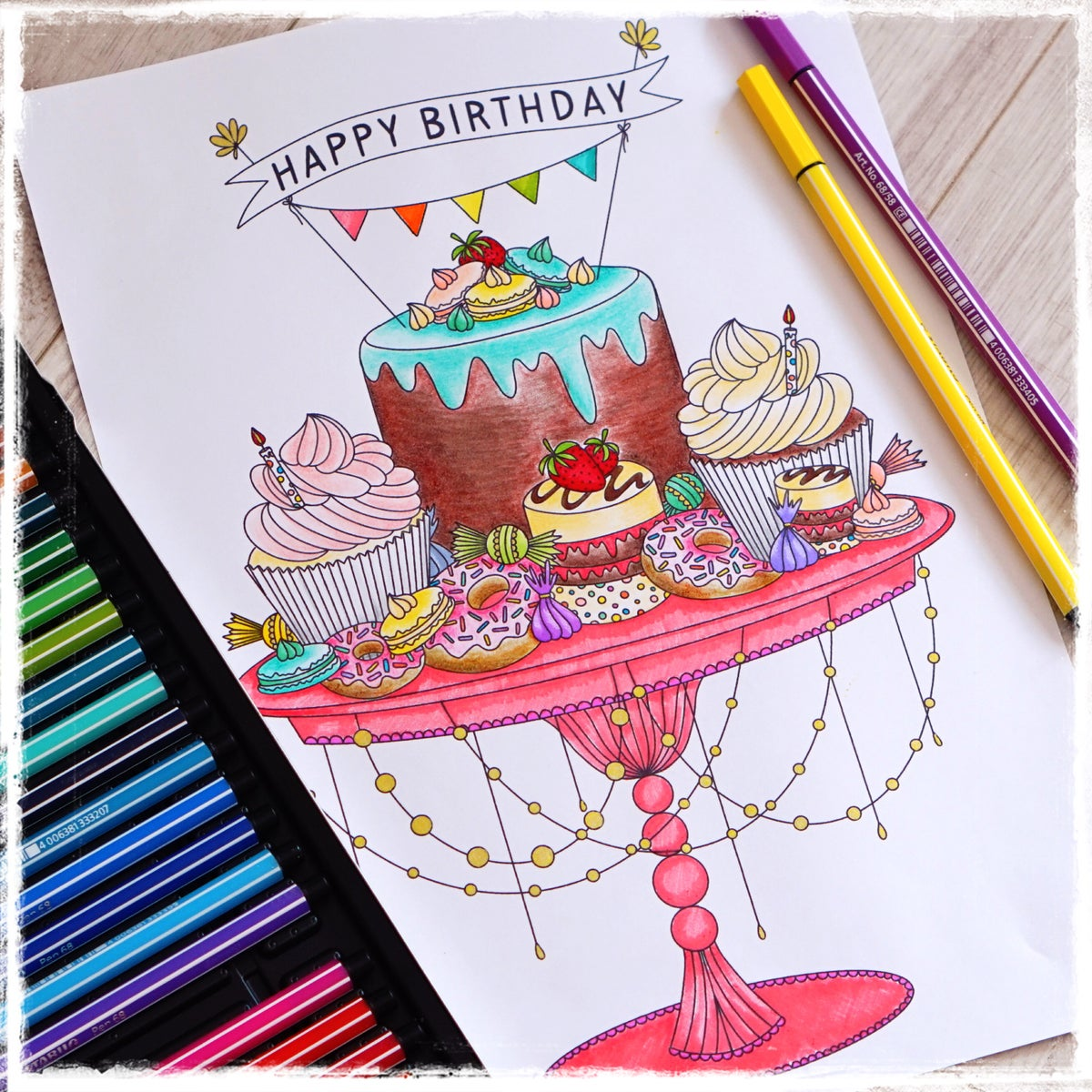 Image of Birthday Cake Colouring Page Set of 2