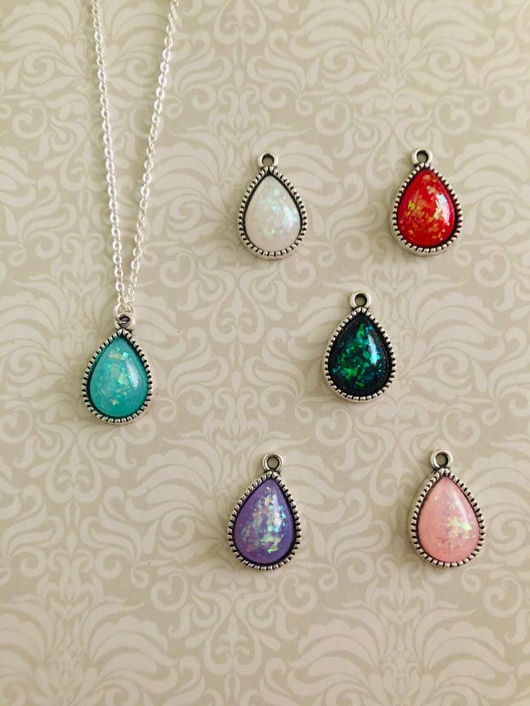 Image of Teardrop glitter necklace