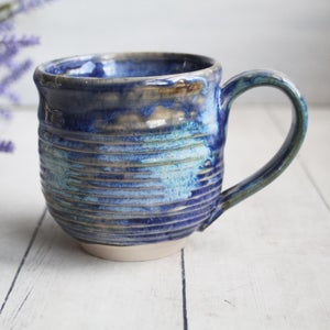 Image of Rustic Mug in Gorgeous in Dripping Blue Glazes, Handmade in USA 14 oz. Ready to Ship