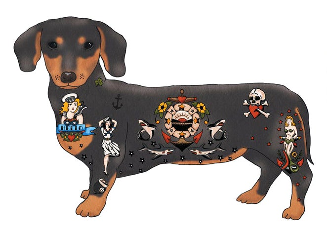 Image of Tattoo Dachshund Card