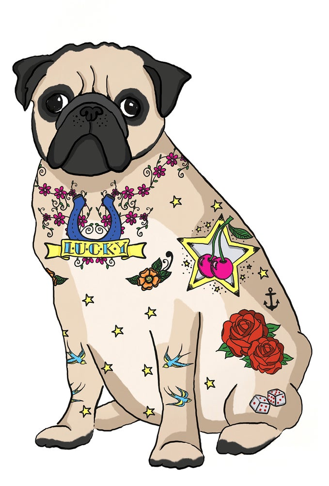 Image of Tattoo Pug Card