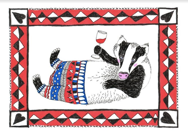 Image of Tipsy Badger Card