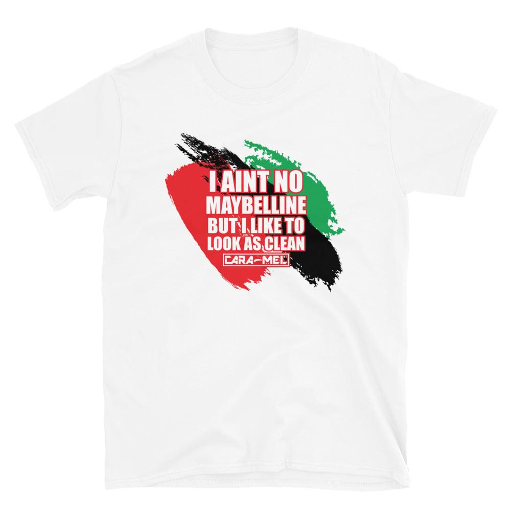 Image of Unisex White Maybelline Slogan T-Shirt
