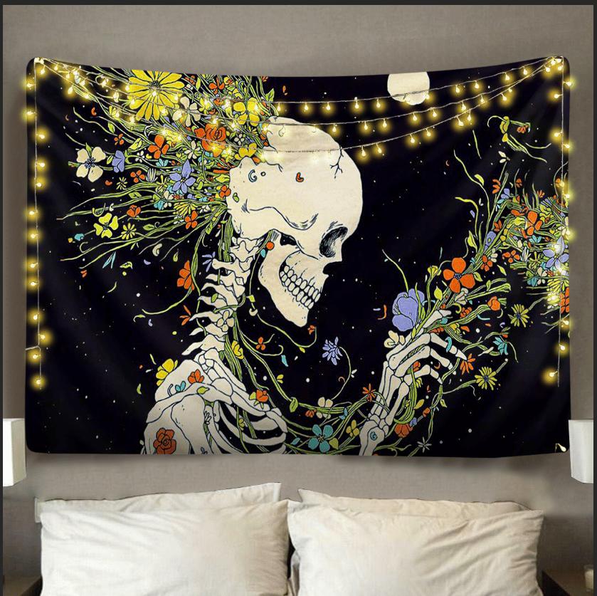 Image of Floral Skeleton Tapestry