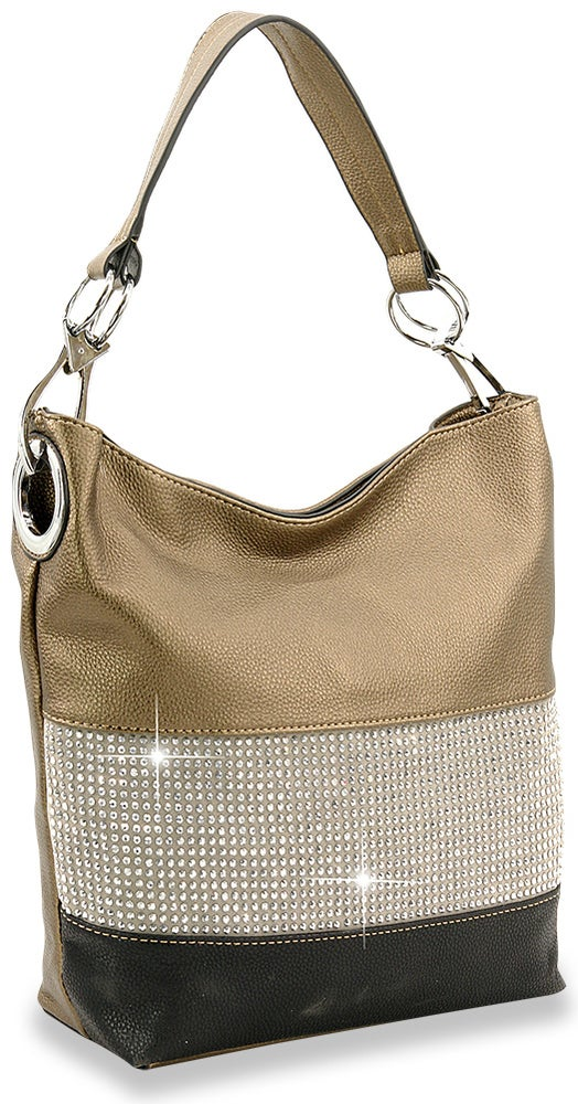 "Image of ""Sparkling"" Rhinestone Accent Hobo Purse"