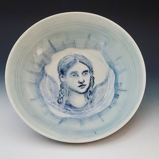 Image of Angel Portrait Drawing Porcelain Bowl